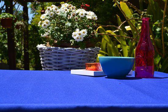 Toalha de Mesa Retangular 8 Lugares Lisa Azul Forte Infinito