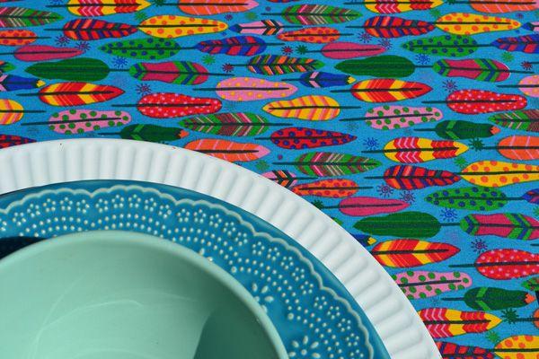 Toalha de Mesa Retangular Azul 8 Lugares Penas