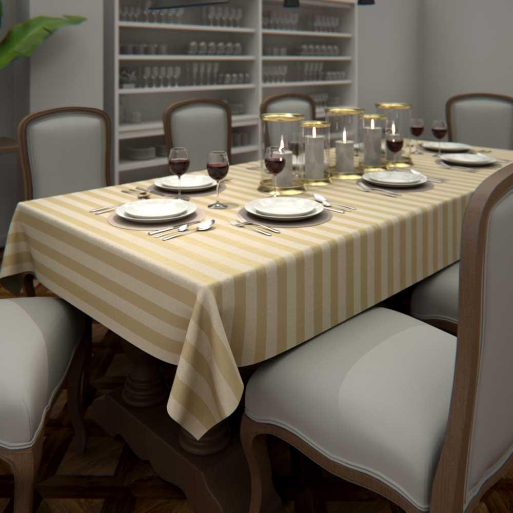 Toalha de Mesa Retangular Listrada Dourada 10 Lugares Sob Medida