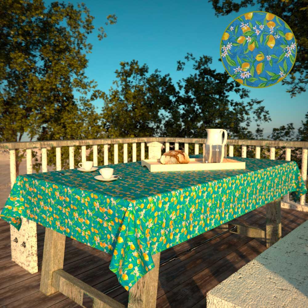 Toalha de Mesa RetangularAzul4 Lugares Limões