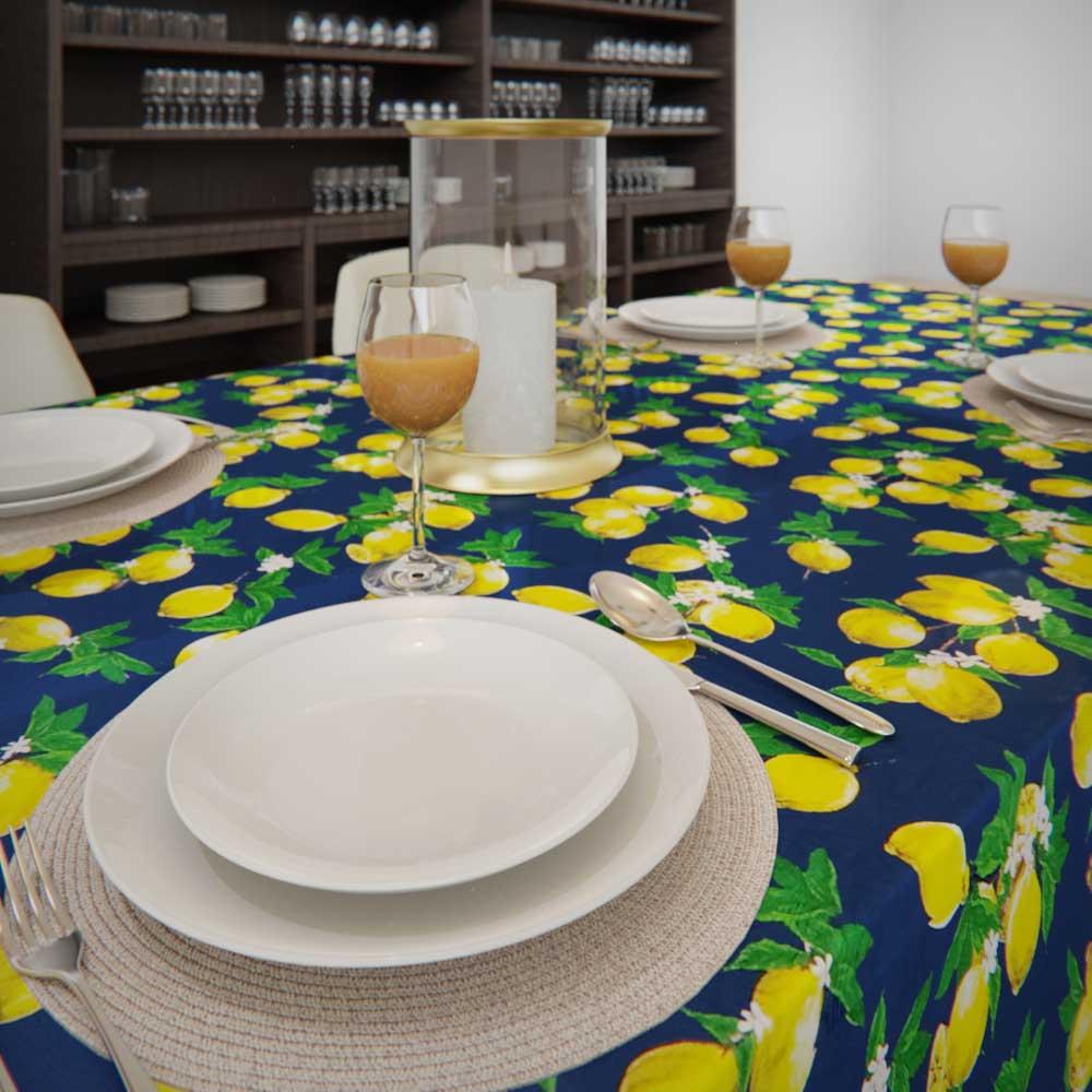 Toalha de Mesa RetangularAzul8 Lugares Limões