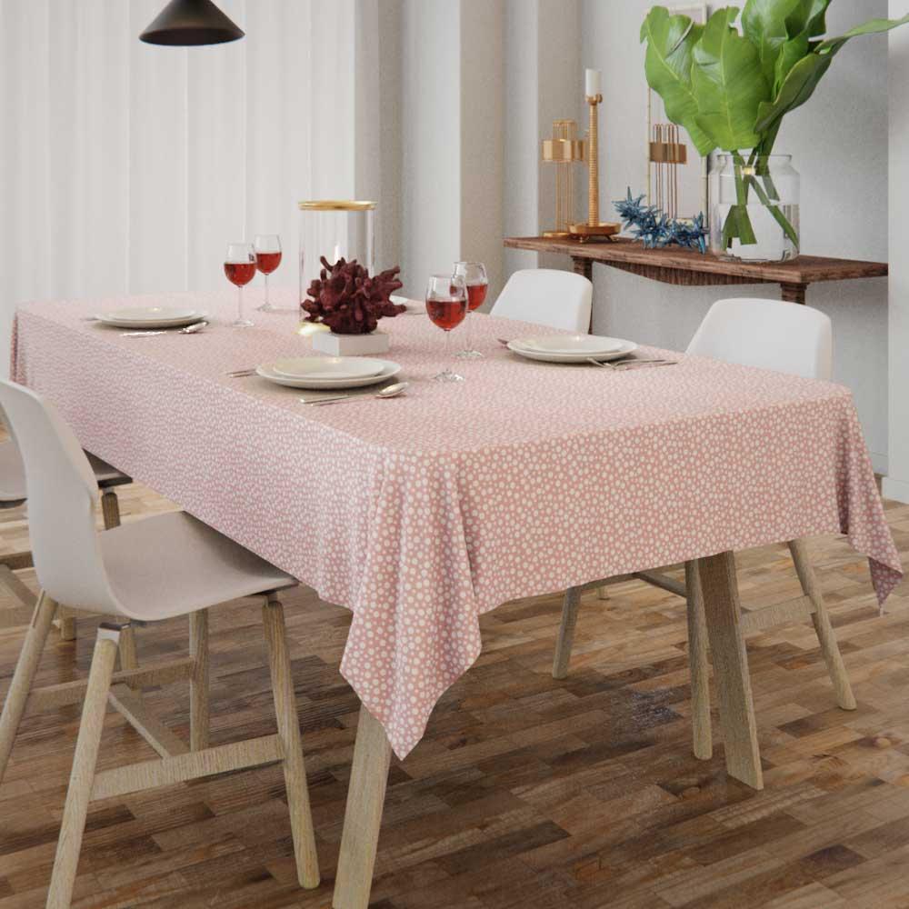 Toalha de Mesa Rosa com Bolinhas Brancas Retangular 6 Lugares
