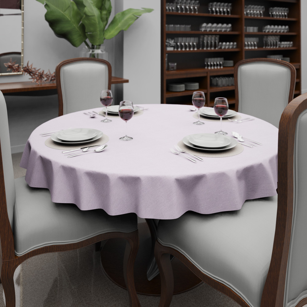 Toalha de Mesa Rosa de Linho Redonda 4 Lugares