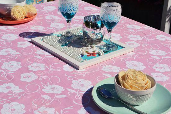Toalha de Mesa Rosa Retangular 10 Lugares Viviê