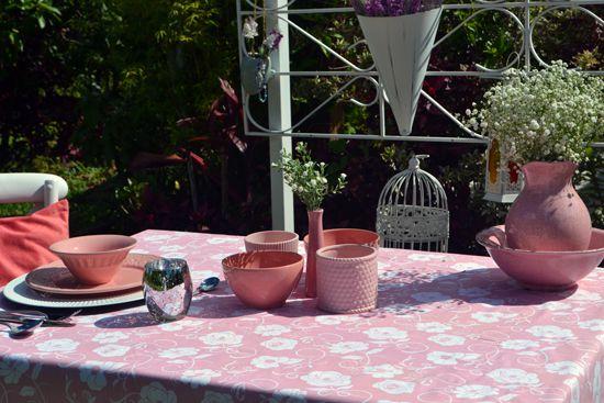 Toalha de Mesa Rosa Retangular 6 Lugares Viviê