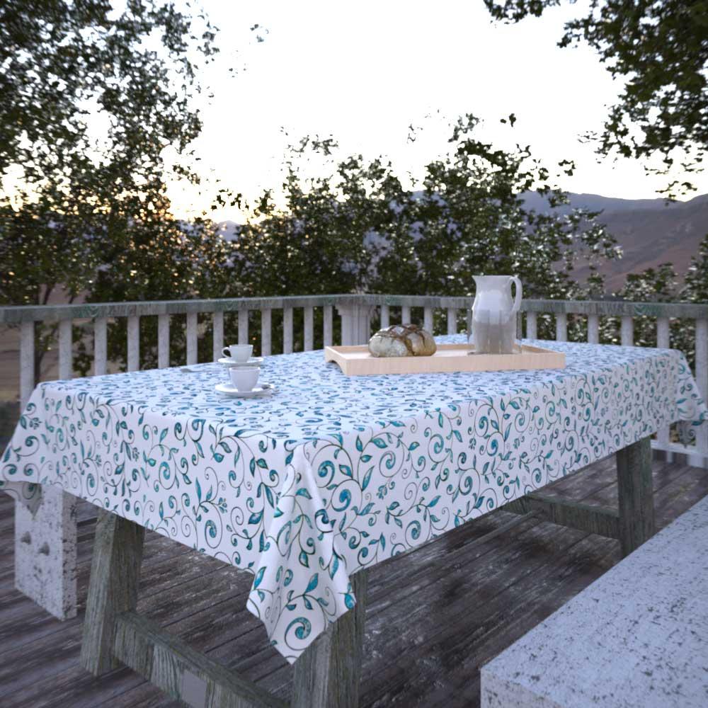 Toalha de Mesa Sob Medida Branca Retangular 8 Lugares com Folhas Verdes