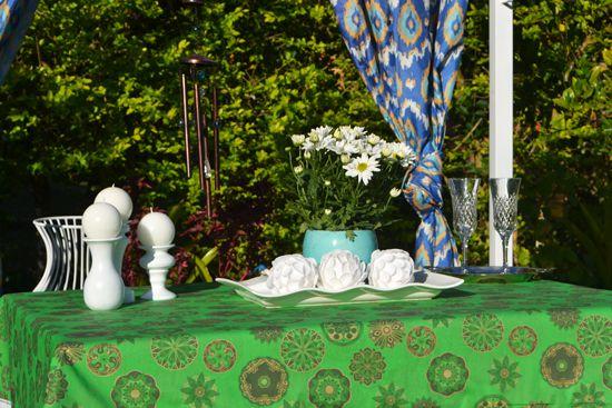 Toalha de Mesa Verde Retangular 10 Lugares Mantra