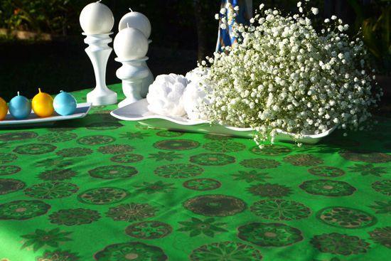 Toalha de Mesa Verde Retangular 4 Lugares Mantra