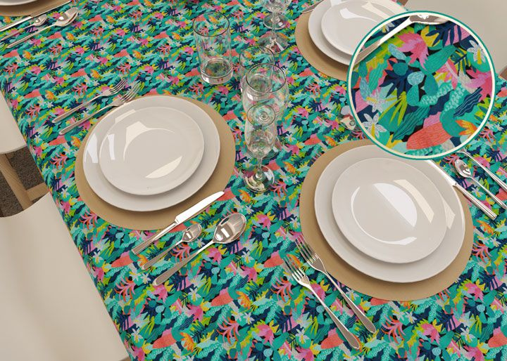 Toalha de Mesa Verde Retangular 4 Lugares Savana Floral