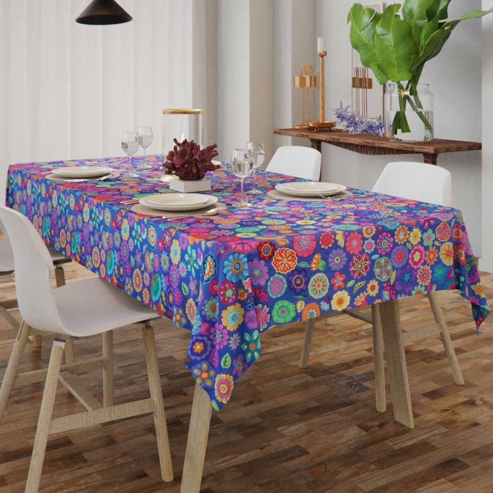 Toalha de Mesa Azul Floral Retangular 8 Lugares Flores Vivas
