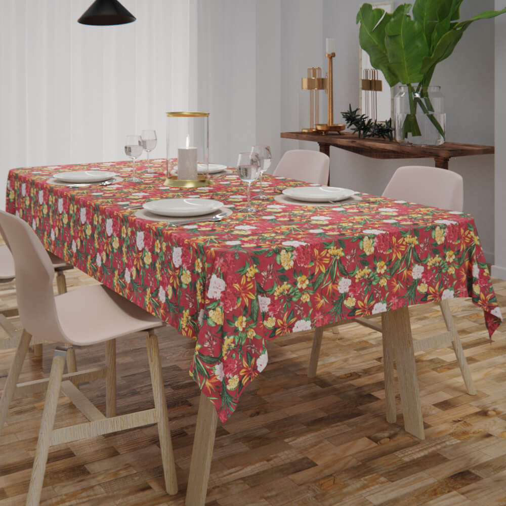 Toalha de Mesa Vermelha Floral Impermeável Retangular 4 Lugares