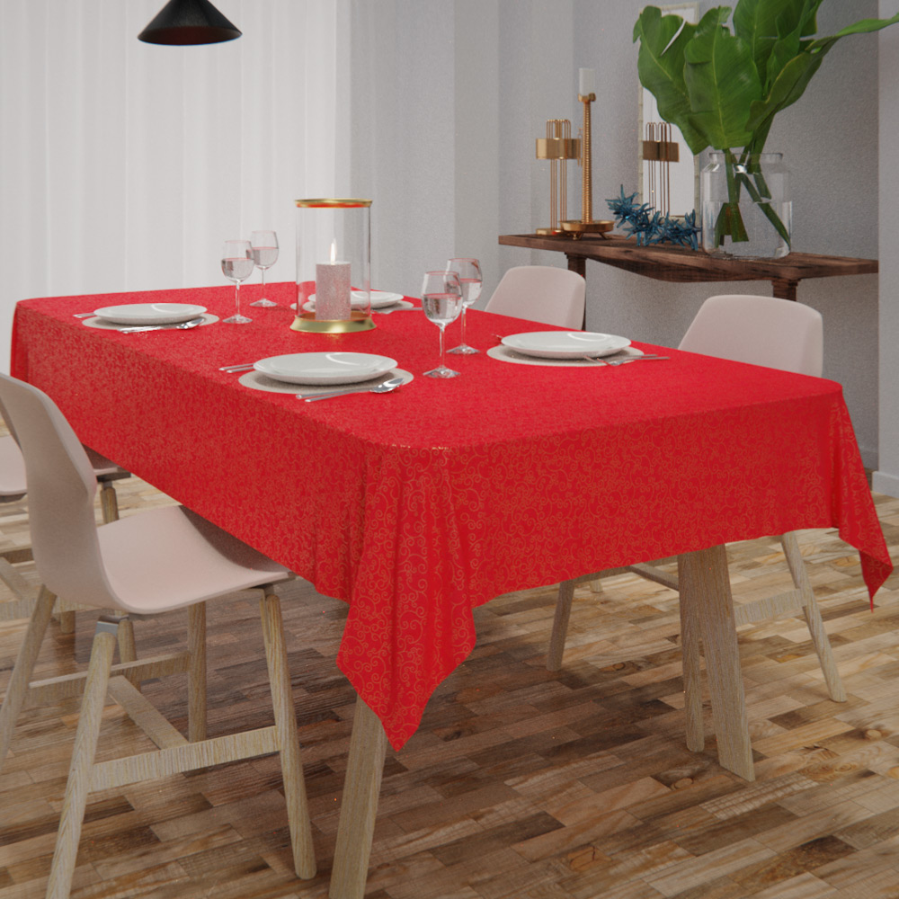 Toalha de Mesa Vermelha Natalina 8 Lugares Retangular Ouro
