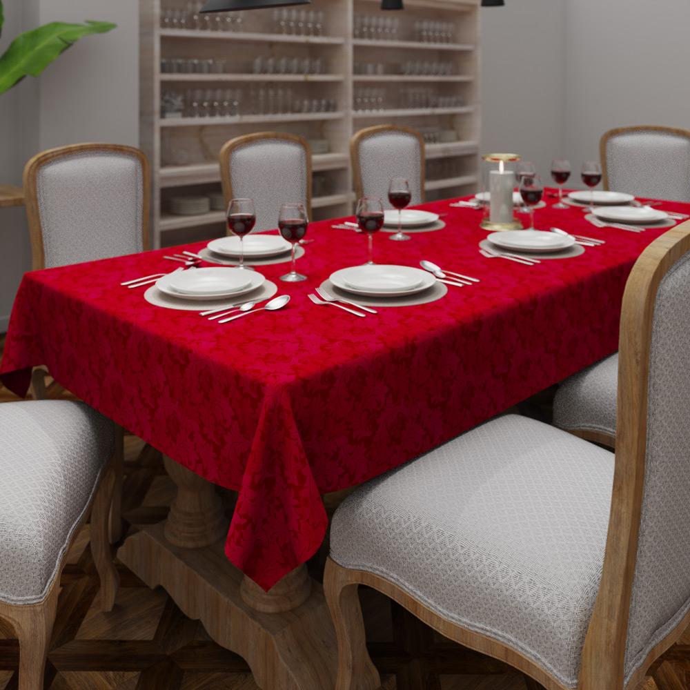 Toalha de Mesa Vermelha Retangular 10  Lugares Sob Medida Jacquard