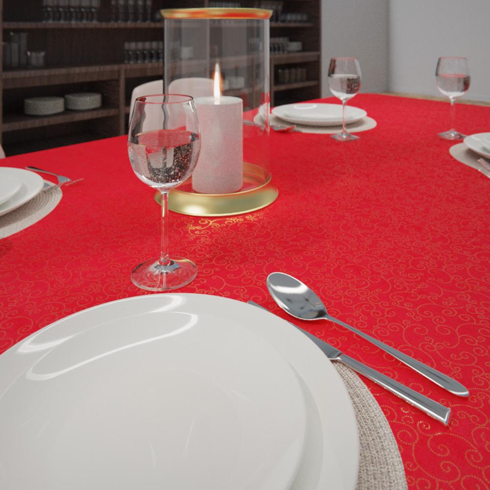 Toalha de Mesa Vermelha Retangular 4 Lugares Natalina Ouro