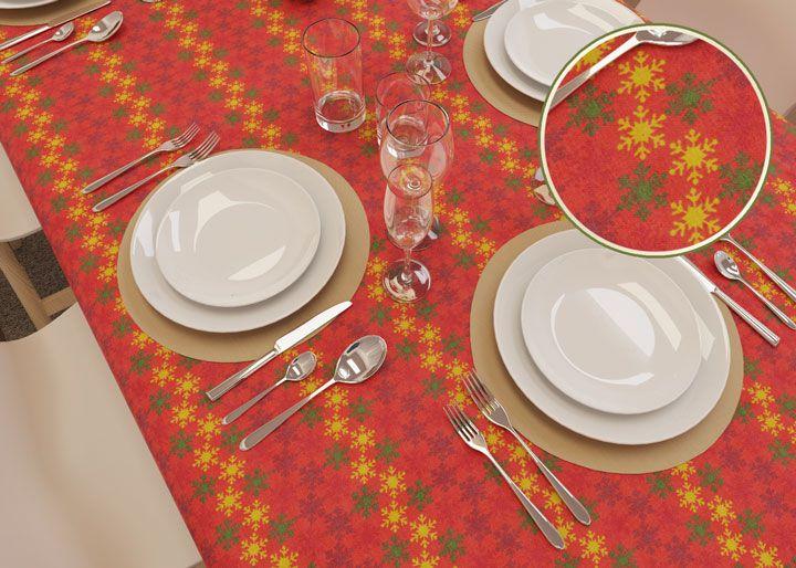 Toalha de Mesa Vermelha Retangular 8 Lugares Clima de Natal