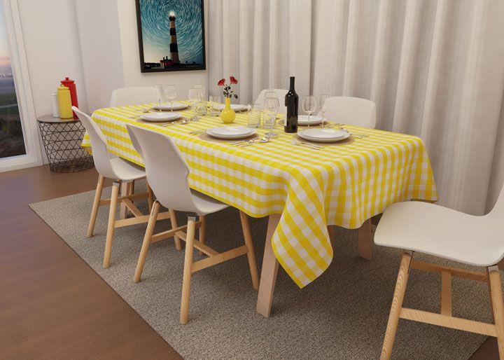 Toalha de Mesa Xadrez Amarela Retangular 8 Lugares