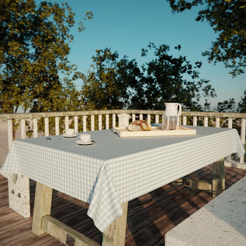 Toalha de Mesa Xadrez Azul Quadrada 4 Lugares Classic