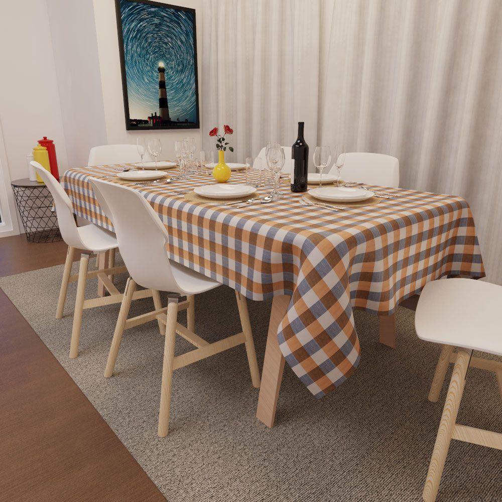 Toalha de Mesa Xadrez Laranja com Preto Retangular 8 Lugares Luxo