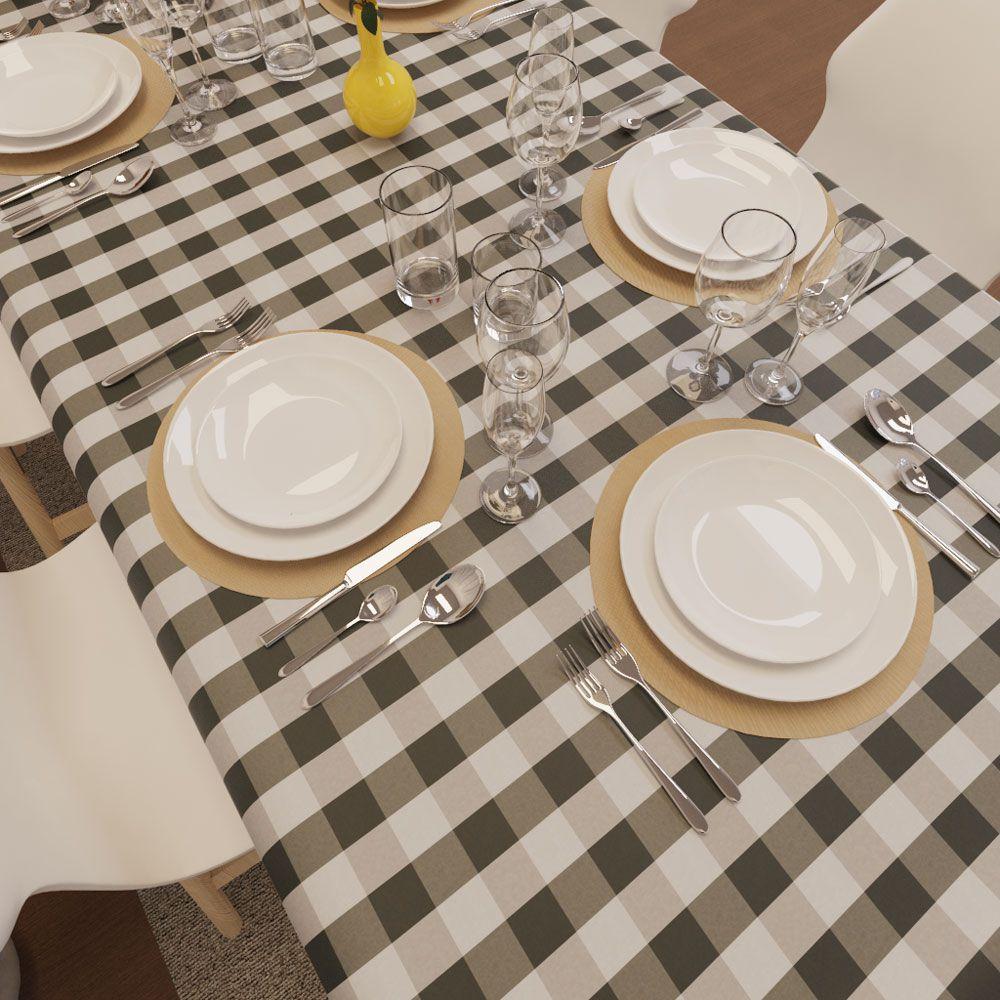 Toalha de Mesa Xadrez Preta com Cinza Retangular 10 Lugares Luxo
