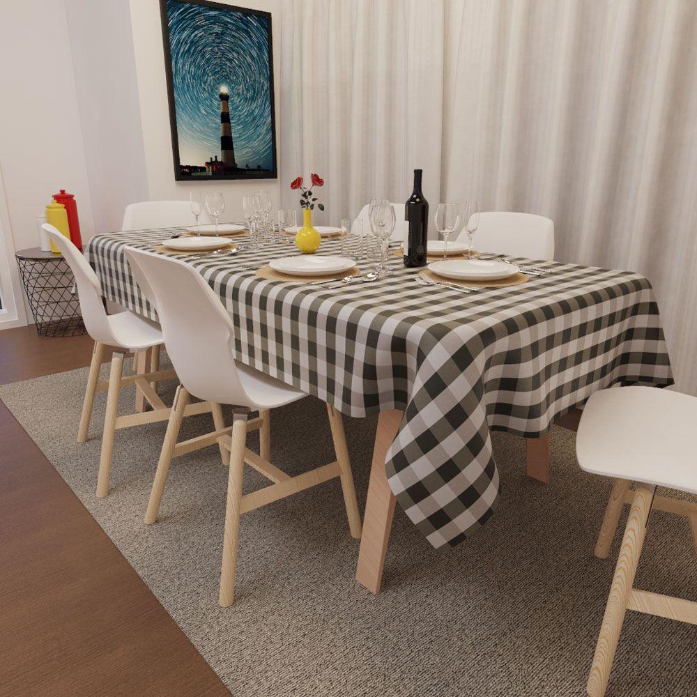 Toalha de Mesa Xadrez Preta com Cinza Retangular 4 Lugares Luxo