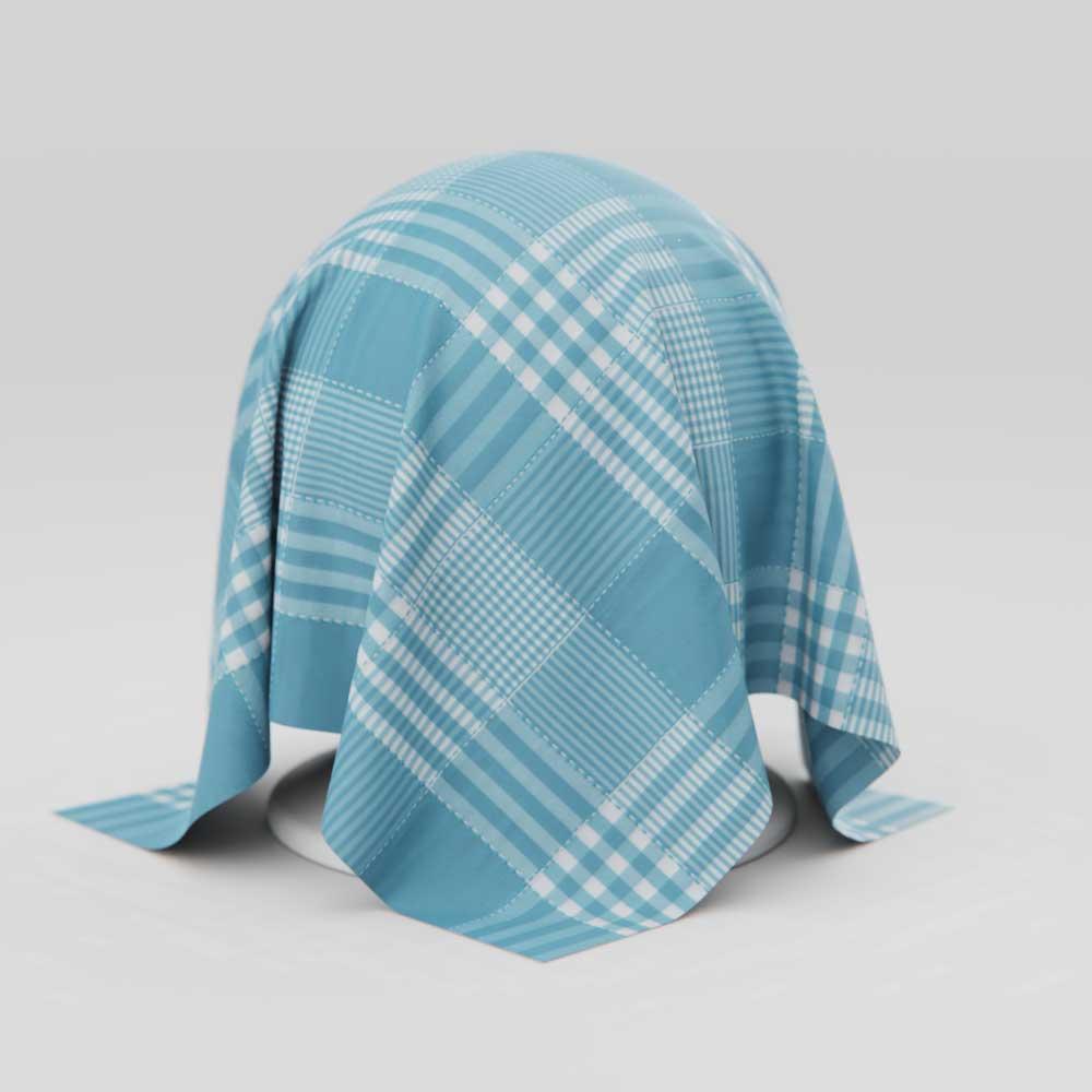 Toalha de Mesa Xadrez Quadriculada Azul Retangular 6 Lugares