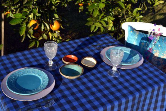Toalha de Mesa Xadrez Retangular Azul 10 Lugares