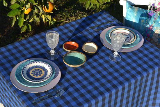 Toalha de Mesa Xadrez Retangular Azul 8 Lugares