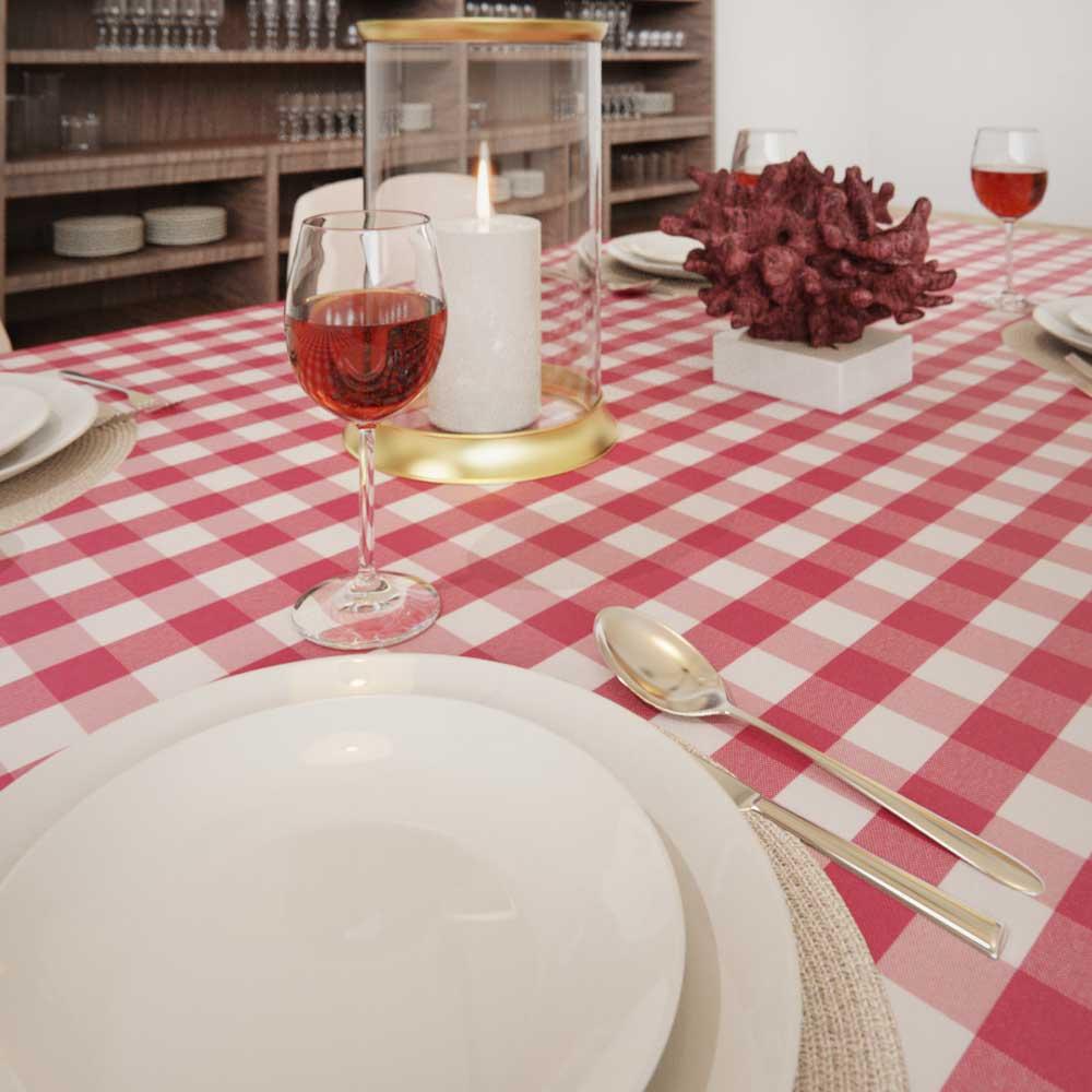 Toalha de Mesa Xadrez Rosa 1,50 x 2,70