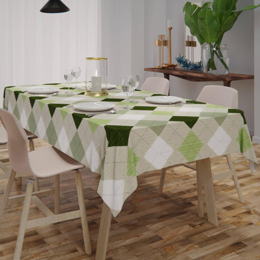Toalha de Mesa Xadrez Verde Quadrada Sob Medida Piquet