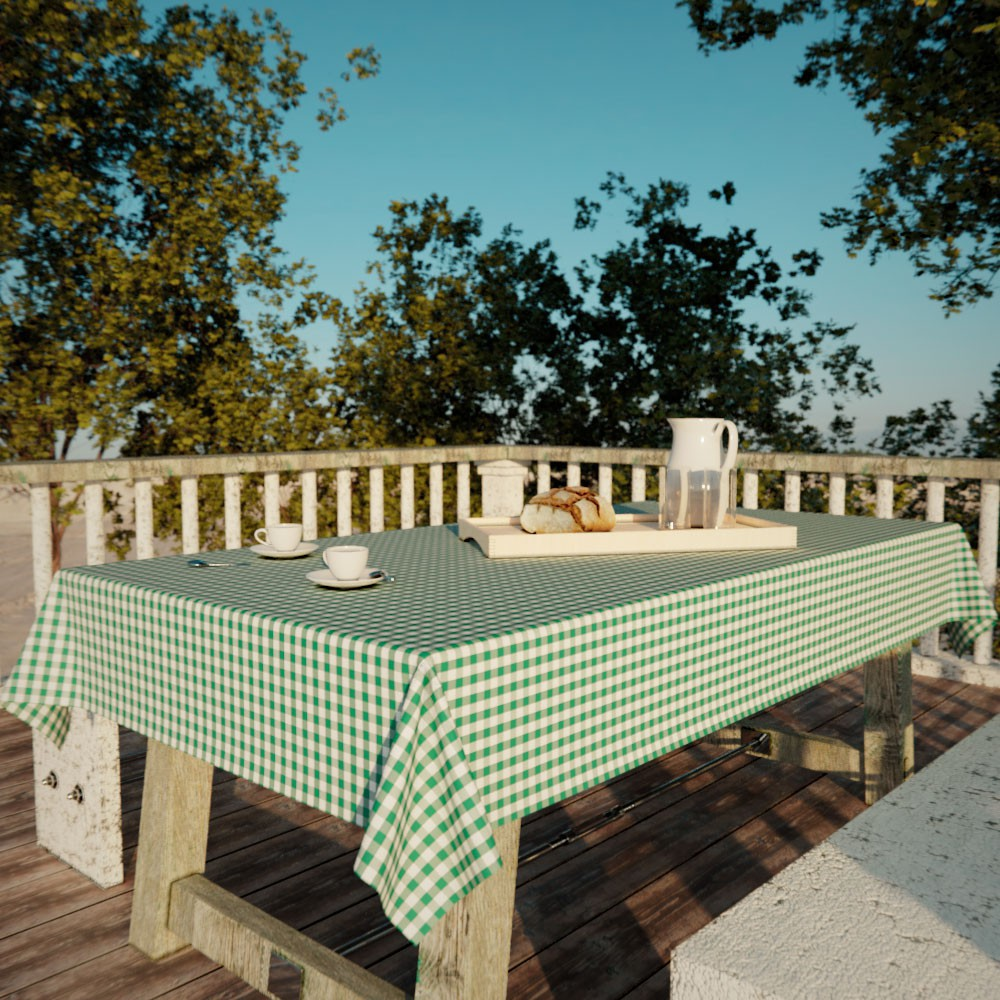 Toalha de Mesa Xadrez Verde Retangular 6 Lugares Classic