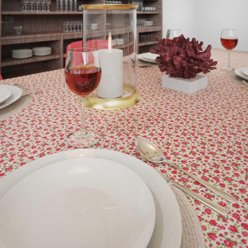 Toalha de MesaQuadrada 6 Lugares Floral Estampada Mil Rosas