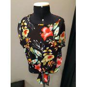 Blusa Cropped Floral com Amarração Frontal