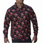 Camisa Caveira Floral - Manga Comprida
