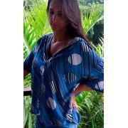 Camisa Feminina Home Office Azul - Listras com Pois