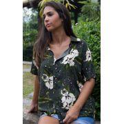 Camisa Feminina Viscose Verde Floral