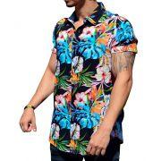 Camisa Floral Masculina Costela de Adão Azul