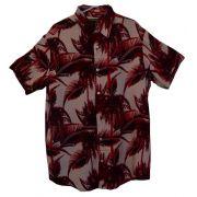 Camisa Floral Masculina Folhas de Palmeiras - Vinho