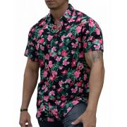 Camisa Floral Masculina Orquídeas Rosas