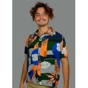 Camisa Viscose Floral Abstrato
