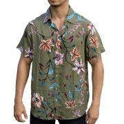 Camisa Viscose Floral Verde Claro