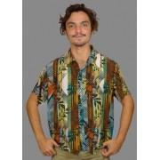 Camisa Viscose Listras e Folhagens