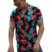 Camisa Viscose Manga Curta Fundo Preto - Rosas e Costela de Adão Verde