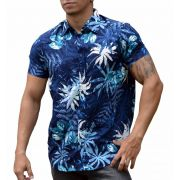 Camisa Viscose Masculina Folhagem Azul