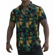 Camisa Viscose Masculina Folhagens Artística