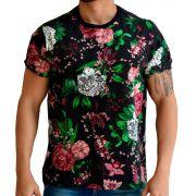 Camiseta Floral Masculina - Flores Rosas e Brancas