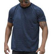 Camiseta Listrada Azul Marinho Listras Brancas