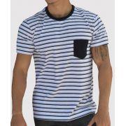 Camiseta Listrada Branca Stripes com Bolso Preto