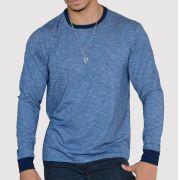 Camiseta Listrada Manga Longa - Azul