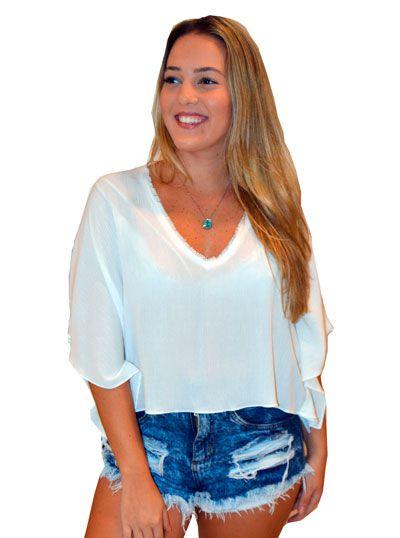 Blusa Cynthia - Crepe de Viscose Branca