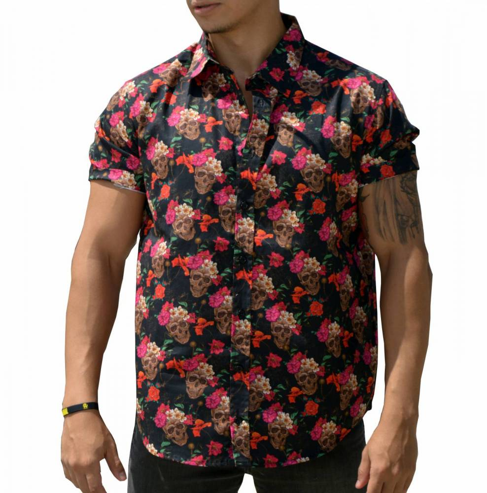 Camisa Caveira Floral - Manga Curta